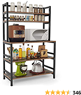 Tribesigns 5-Tier Kitchen Bakers Rack with Hutch, Industrial Microwave Oven Stand, Free Standing Kitchen Utility Cart Storage Shelf Organizer (Rustic Brown)