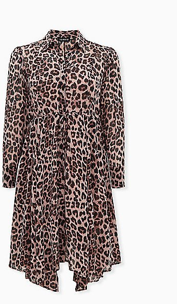 Leopard Chiffon Midi Shirt Dress