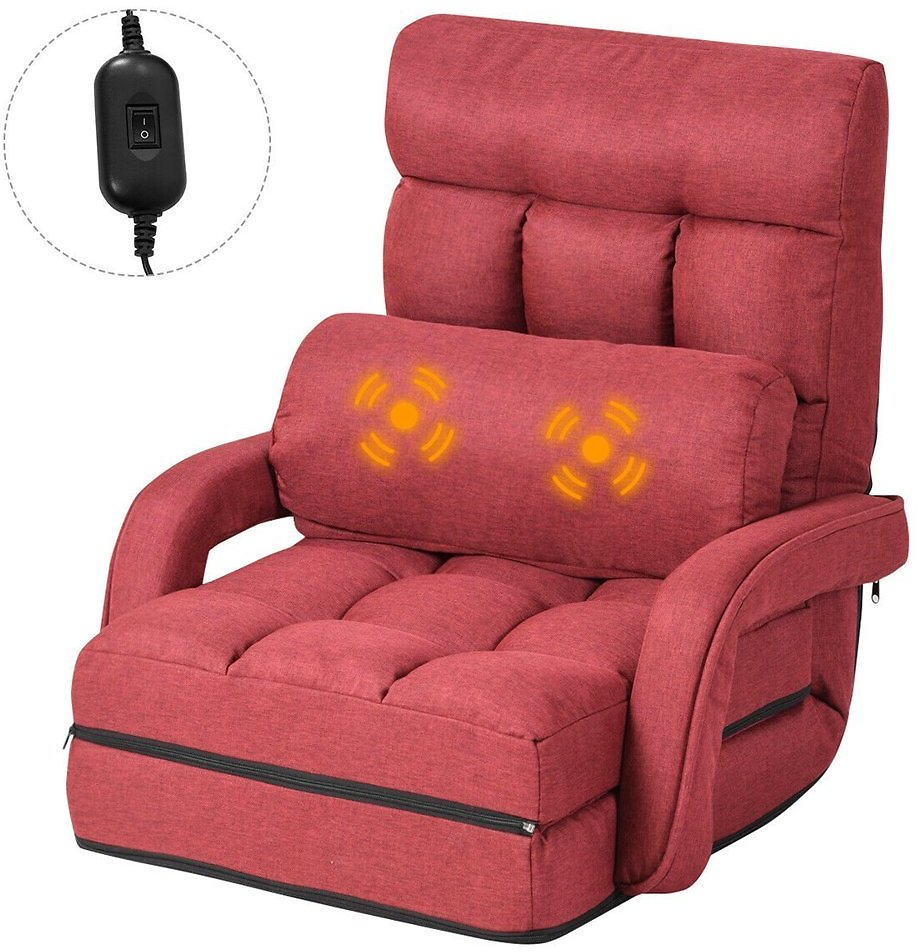 Gymax Red Folding Lazy Sofa Floor Chair Sofa Lounger Bed with Armrests and a Pillow