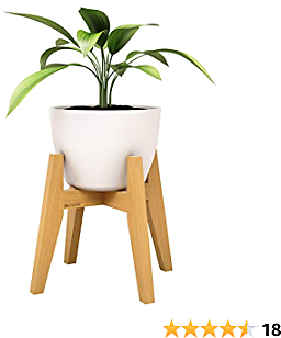Makony Mid Century Plant Stand, Indoor Wooden Flower Pot Holder- Display Rack/Shelf/Pedestal, Fits 10 Inch Planter Pots and Cone Pots, Up to 175lbs- Bamboo, Rustic Retro Décor
