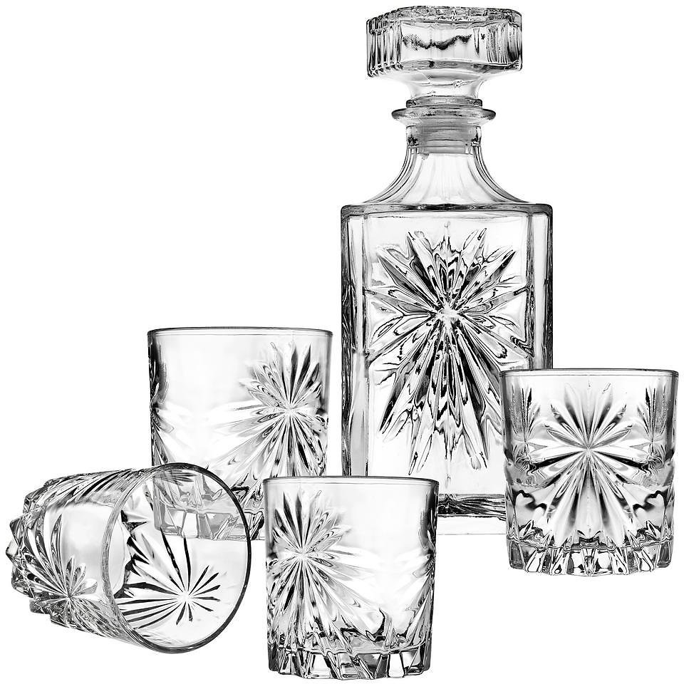 5-Pc Starburst Clear Crystal Decanter & Whiskey Set