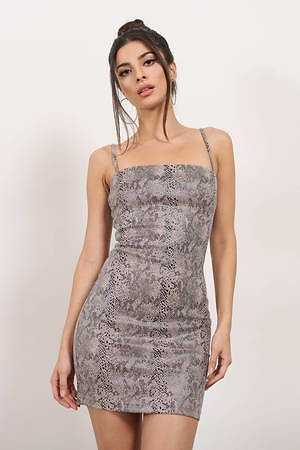Such A Snake Blush Multi Faux Suede Bodycon Dress