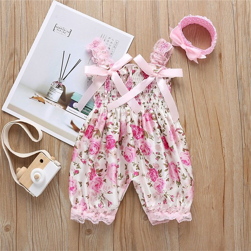 Baby Girl Rose Floral Jumpsuit and Headband