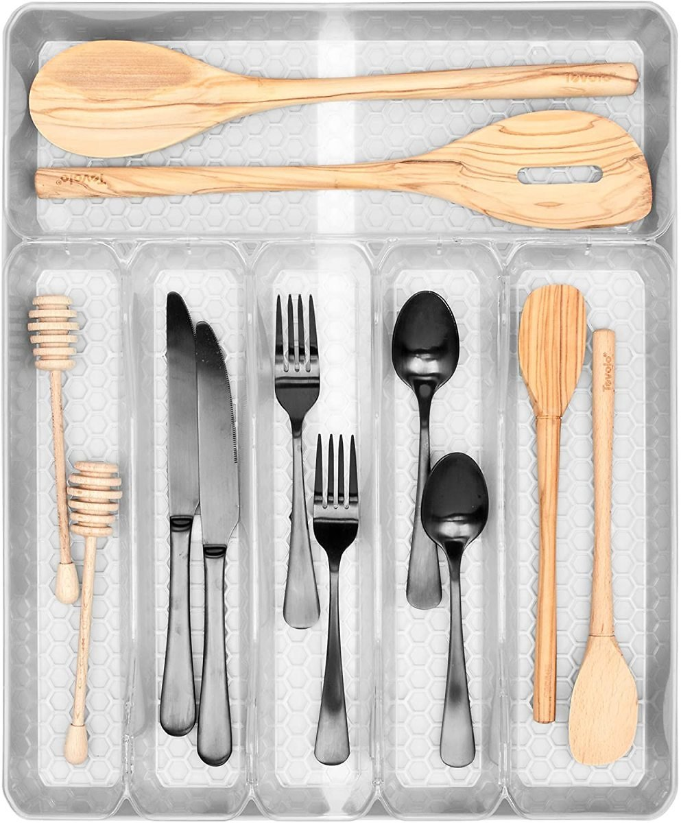 Spectrum Hexa 6-Divider Expandable Silverware Tray, Buildup-Resistant Kitchen Drawer Organizer & Utensil Holder With Locking Expandable Wings, Easy-to-Clean Modern Kitchen Storage & Cutlery Tray Frost