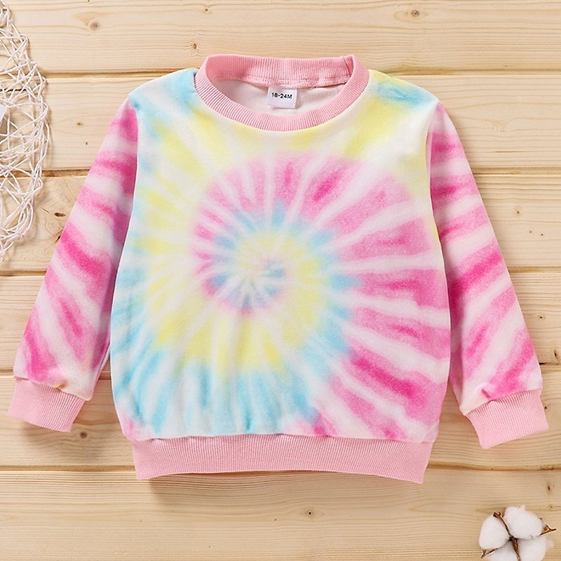 Baby / Toddler Colorful Tie-dye Long-sleeve Pullover