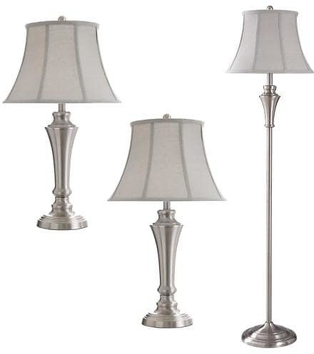 StyleCraft Home Collection StyleCraft Home Collection- Floor Lamp/Table Lamp Set- Brushed Nickel Finish- Geneva Taupe Fabric Shade- 3-Piece Set (2 Table, 1 Floor) Lowes.com