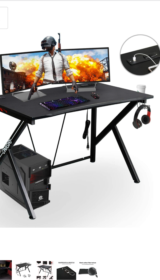 Save 30% Computer Gaming Desk with Large Carbon Fiber Surface Cup Holder & Headphone