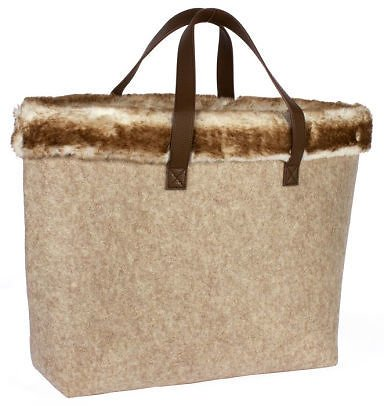 25% Off B&N Exclusive Holiday Beige Fur Lined Tote
