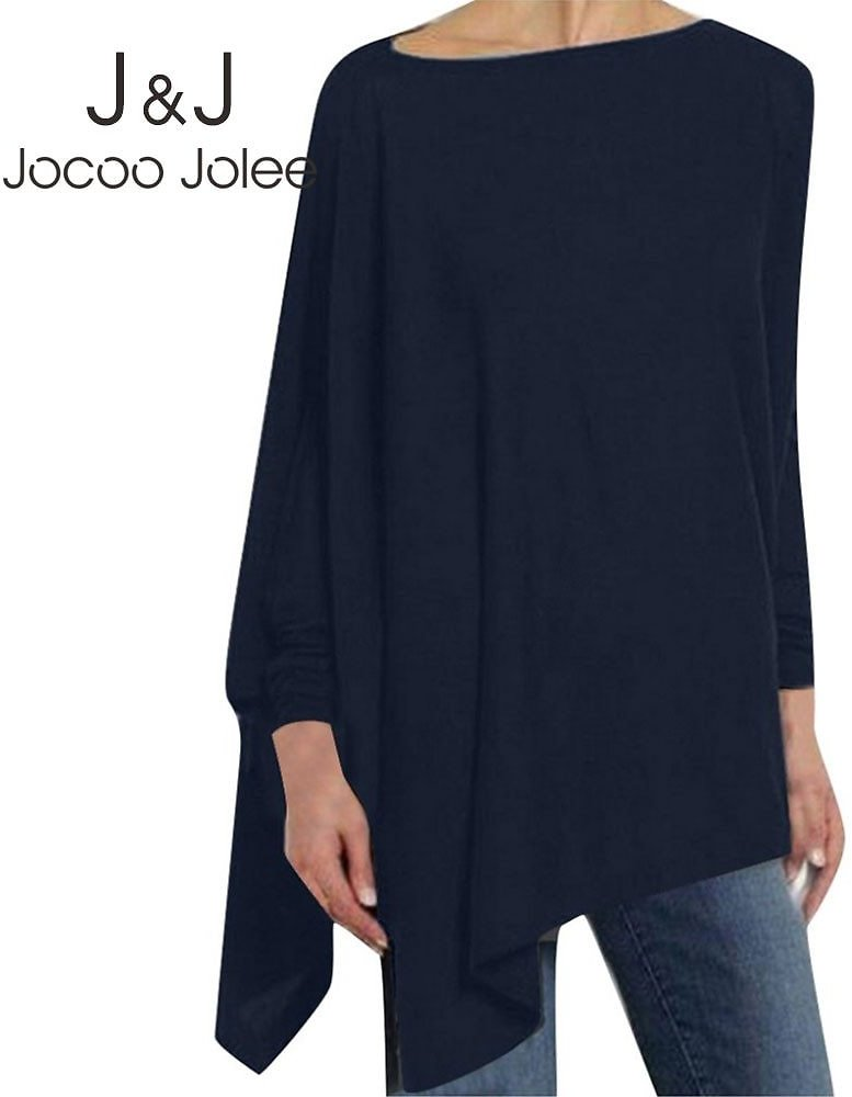 US $8.25 40% OFF|Jocoo Jolee Women Causal Long Sleeve Cotton Blouse Spring Loose Irregular Shirt Female Solid Sweatshirt Female Tops Pullover|Blouses & Shirts| - AliExpress