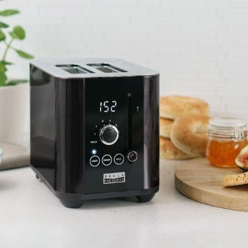 Bella Pro Series 2-Slice Digital Touchscreen Toaster - Black Stainless Steel
