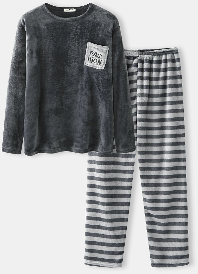 Mens Flannel Thick Round Neck Top Striped Pants Two-Piece Pajamas Set With Pockets