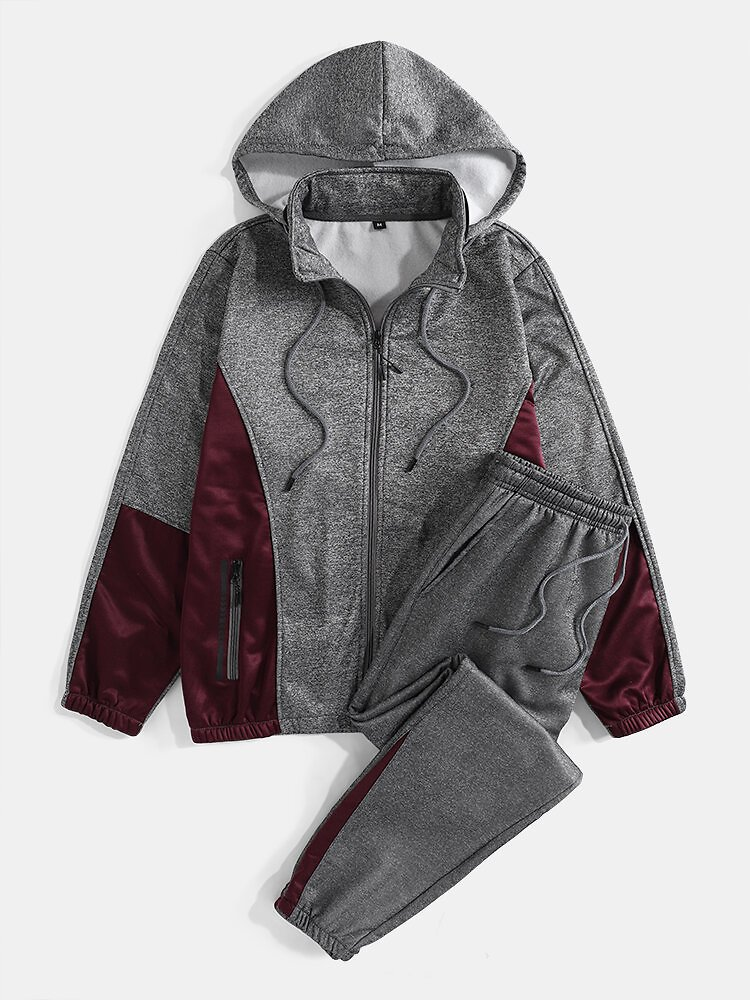 Mens Patchwork Zipper Sports Two-Piece Outfits With Removable Hood