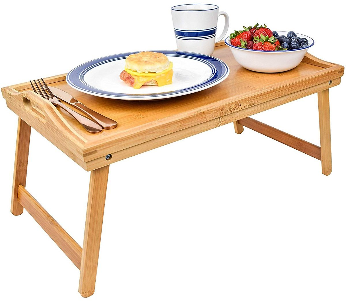 Foldable Breakfast Tray  Large Organic Bamboo Folding Serving Tray, Laptop Desk, Bed Table, Lap Desk  Natural and Eco-Friendly T