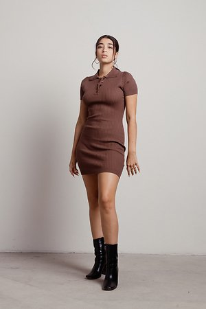 Late To Class Brown Ribbed Collar Button Down Mini Dress