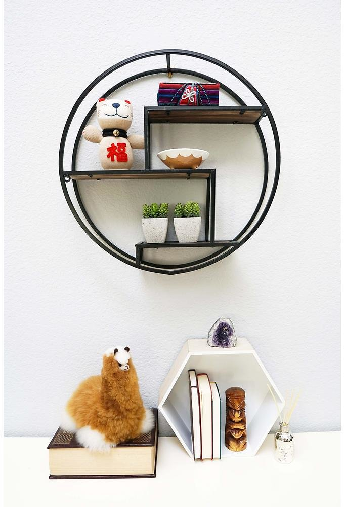 Admired By Nature 23 In. Black Round Wall-Mounted Iron Hanging Storage Floating Shelves-ABN5E094-BLK