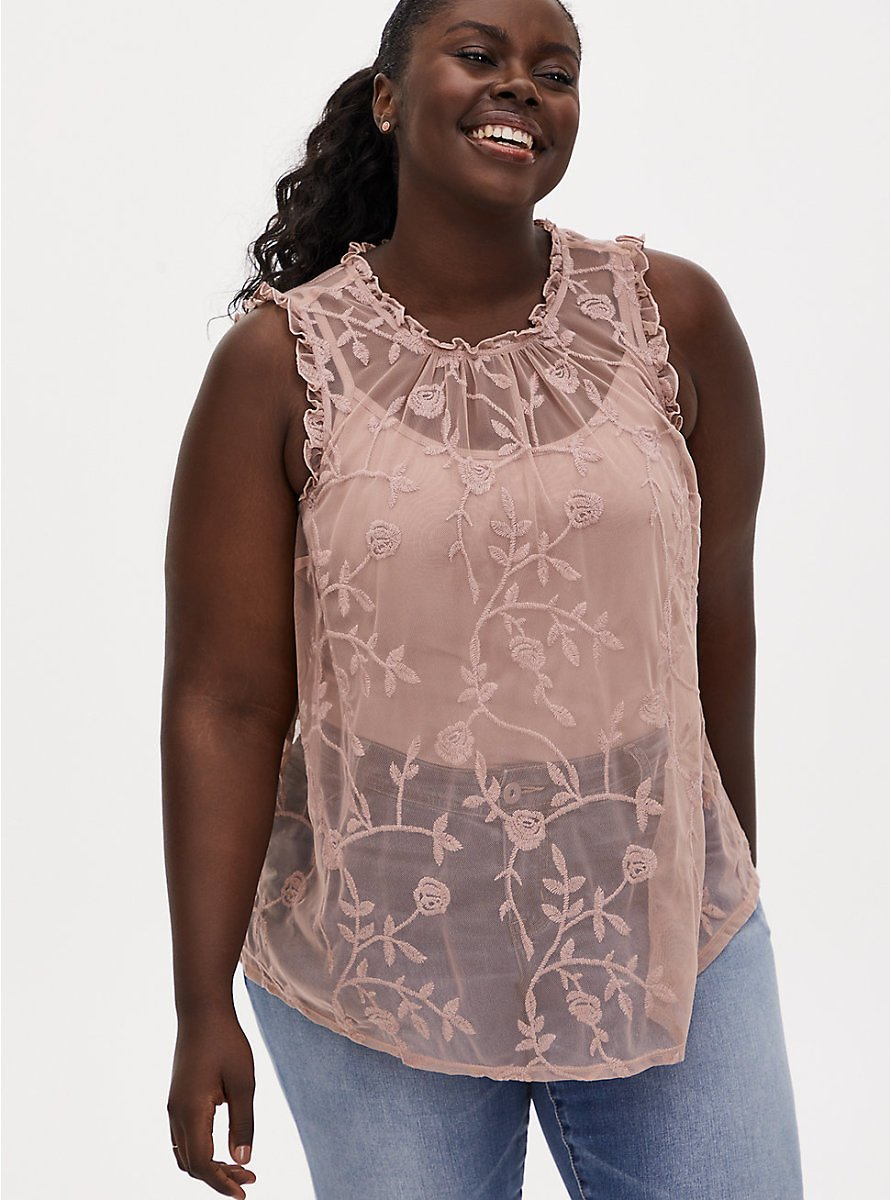 Taupe Sheer Mesh Embroidered Ruffle Sleeveless Blouse