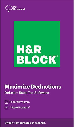 H&R Block 2020 Deluxe + State Tax Software (Digital, Windows)