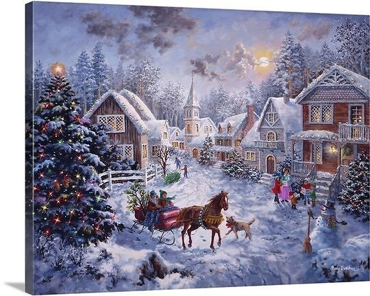 Christmas Art 'Merry Christmas' By Nicky Boehme Painting Print On Wrapped Canvas