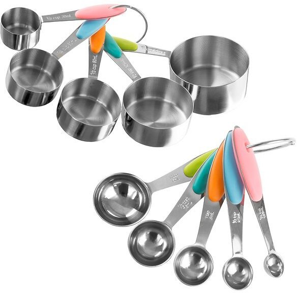 Classic Cuisine 10-Pieces Stainless Steel Measuring Cup and Spoon Set