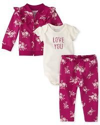 Baby Girls Long Sleeve Floral French Terry Jacket Short Sleeve 'Love You' Bodysuit And Floral Knit Pants 3-Piece Playwear Set