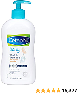 Cetaphil Baby Wash & Shampoo with Organic Calendula |Tear Free | Paraben, Colorant and Mineral Oil Free | At Amazon