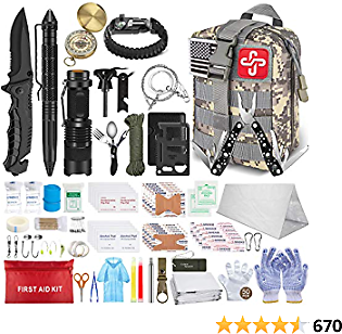 TAIMASI 152Pcs Emergency Survival Kit and First Aid Kit, Professional Survival Gear Tool with Tactical Molle Pouch and Emergency Tent for Earthquake, Outdoor Adventure, Camping, Hiking, Hunting