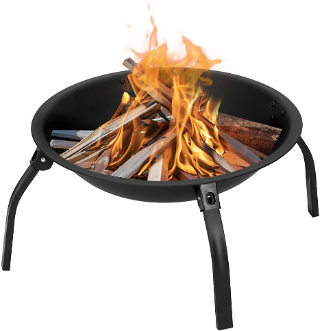 Zimtown Patio 22-in Folding Iron Wood Burning Fire Pit