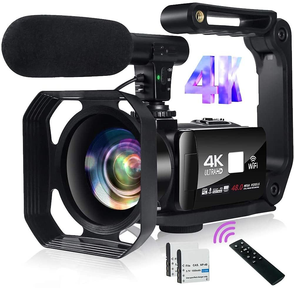 Video Camera 4K Camcorder 48MP Image Vlogging Camera with Wi-Fi 18X Digital Zoom YouTube Camera with Microphone, 3'' Touch Screen and Remote Control