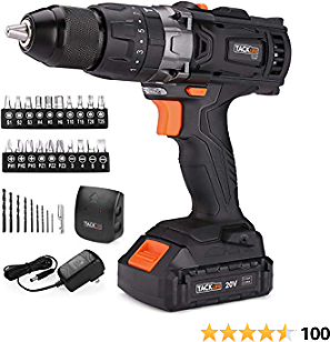 TACKLIFE Cordless Drill 20V Max, 310 In-lbs, 16+3 Position, 2.0Ah Lithium-Ion Battery, 2 Variable Speeds, 1/2