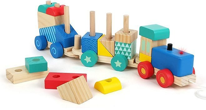 Small Foot Wooden Toys Wooden Train Pull Along and 33 Piece Sorting Game Designed for Children 12+ Months