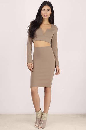 Kylie Taupe Bodycon Set