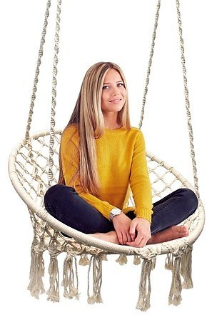 Sorbus Hammock Chair Macrame Swing, 265 Pound Capacity, Perfect for Indoor/Outdoor Home, Patio, Deck, Yard, Garden (Single Swing