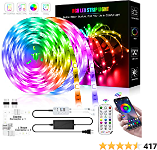 Led Strip Lights 50 Feet,DZFtech Led Lights Strip App Control, Color Changing and Synchronization with Music,Led Lights for Bedroom,Room and Home Decoration