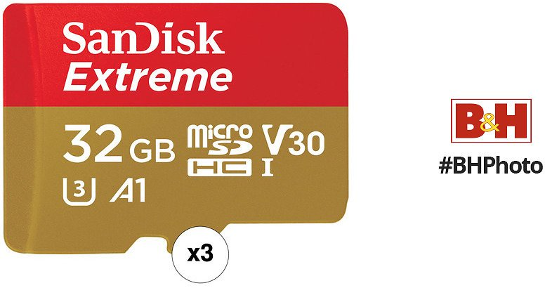 SanDisk 32GB Extreme UHS-I MicroSDHC Memory Card with SD Adapter Kit (3-Pack)