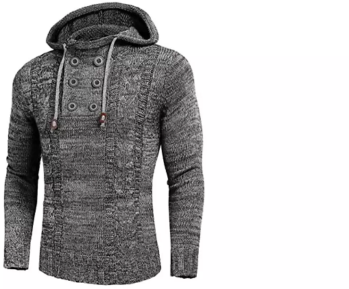 Men's Knitted Cotton Pullover Hoodie Long Sleeve Turtleneck Sweater