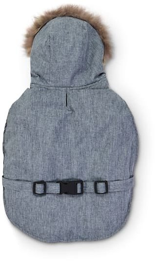 Good2Go Grey Hooded Dog Jacket with Faux-Fur Trim, Small