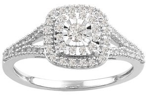 1/3 CTTW Diamond Cluster Halo Engagement Ring in Sterling Silver By DiamondMuse