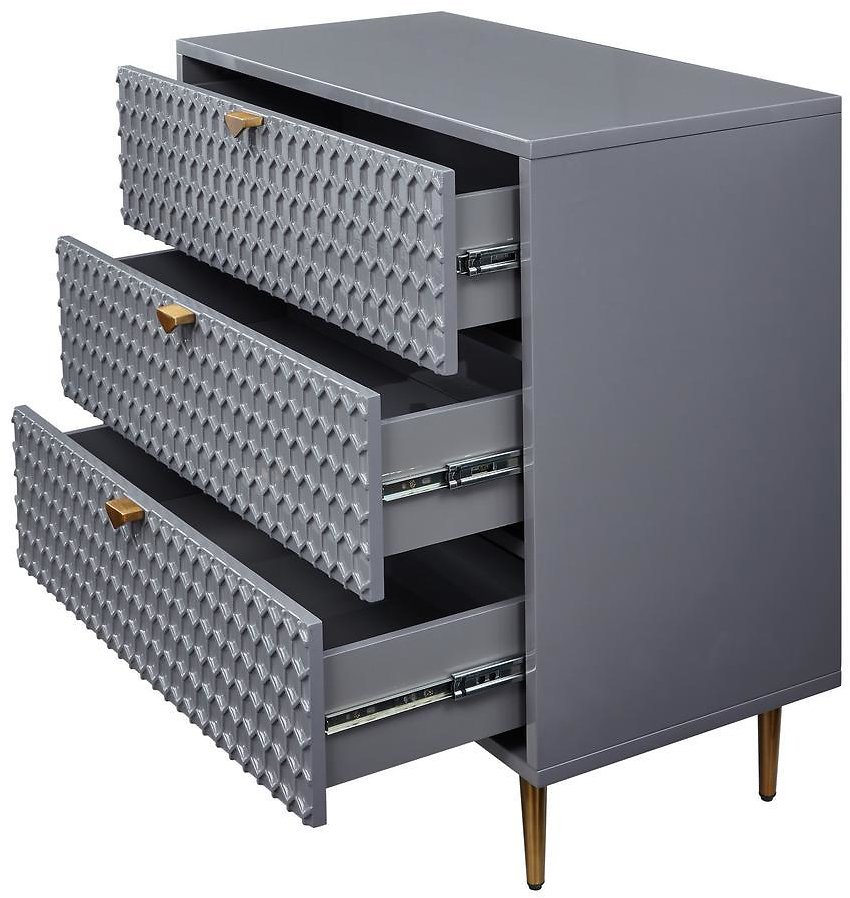 Accent Chest of Drawers with Metal Golden Stands