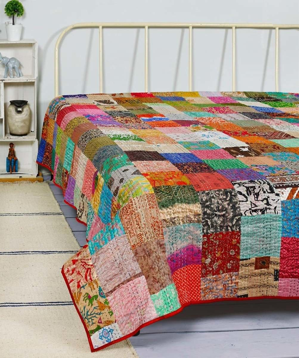 Bohemian Patchwork Quilt Kantha Quilt Handmade Vintage Quilts Boho King Size Bedding Throw Blanket Bedspread Quilting Hippie Quilts For Sale