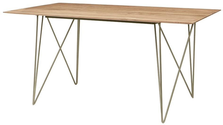Home Decorators Collection Delavan Pecan Brown Finish Rectangular Dining Table for 6 with Golden Metal Hair Pin Base (63 In. L X 29.92 In. H)-BT0305FULL