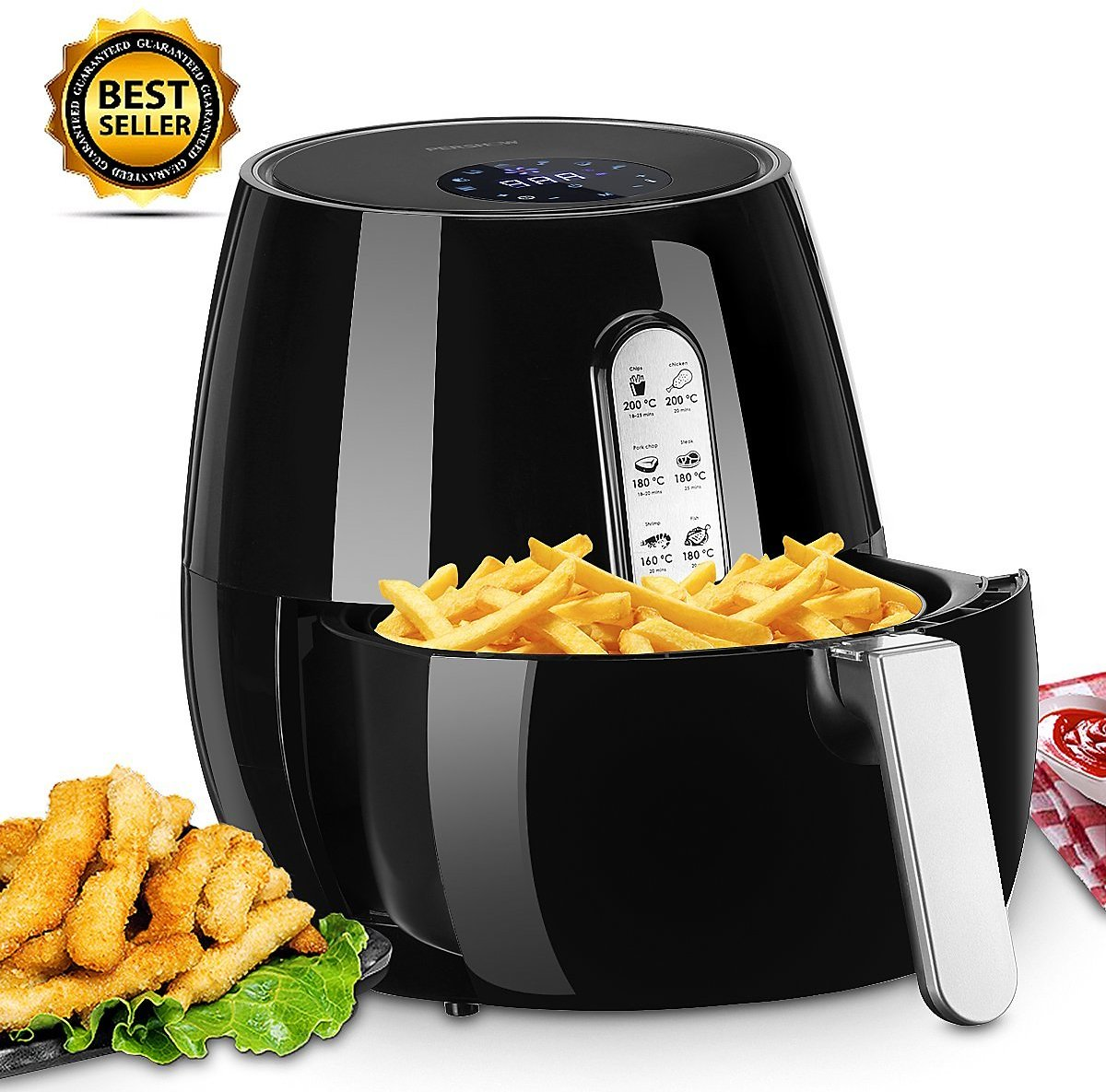 5.2qt, Oil Free Electric Digital Air Fryer, W/LCD Screen, Non-Stick Coating, Temp Control, Timer, Removable Basket