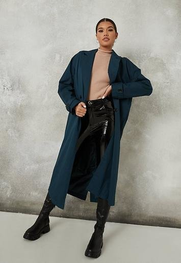 Missguided - Blue Double Breasted Long Trench Coat