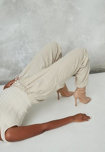 Stone Co Ord Peached Drawstring Joggers