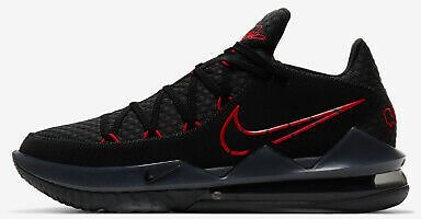 Nike LeBron XVII 17 Low Bred CD5007-001 Black Red Mens Basketball Shoes Sneakers