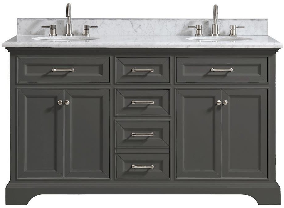 Home Decorators Collection Windlowe 61 In. W X 22 In. D X 35 In. H Bath Vanity in Gray with Carrara Marble Vanity Top in White with White Sink-15101-VS61C-GR