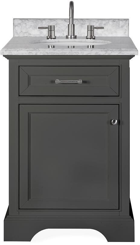 Home Decorators Collection Windlowe 25 In. W X 22 In. D X 35 In. H Bath Vanity in Gray with Carrara Marble Vanity Top in White with White Sink-15101-VS24C-GR