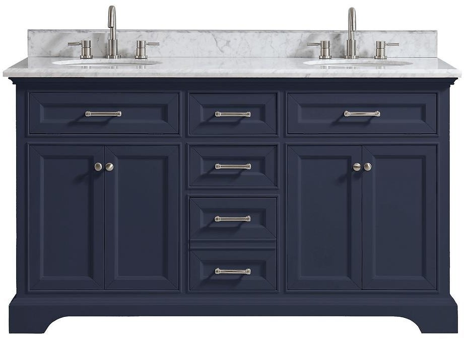 Home Decorators Collection Windlowe 61 In. W X 22 In. D X 35 In. H Bath Vanity in Navy Blue with Carrara Marble Vanity Top in White with White Sink-15101-VS61C-NB