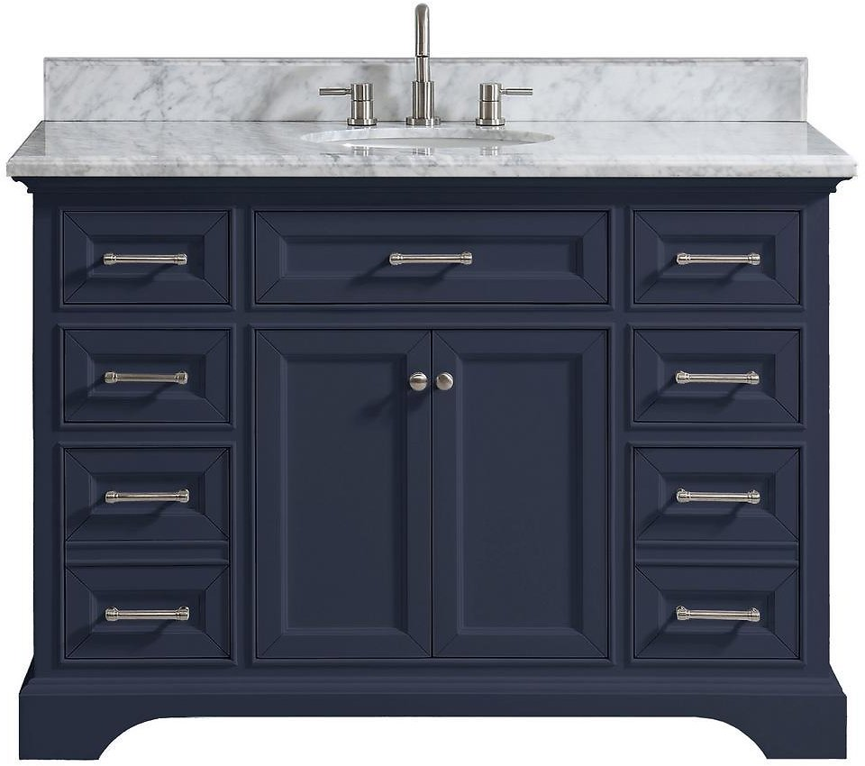 Home Decorators Collection Windlowe 49 In. W X 22 In. D X 35 In. H Bath Vanity in Navy Blue with Carrara Marble Vanity Top in White with White Sink-15101-VS49C-NG