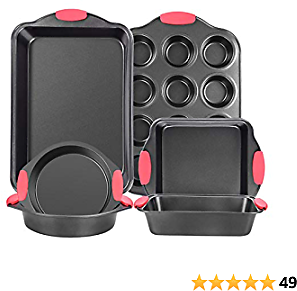 Nonstick Bakeware Set, Baking Sets with Grips Includes Bread Pan, Cookie Sheet, Square Baking Pan, 2 Round Cake Pan and Muffin Pan for Toaster Oven - 6 Pieces, Dark Grey