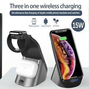 3in1 Qi Wireless Charger Charging Dock Station for Apple Watch / IPhone/Air Pod
